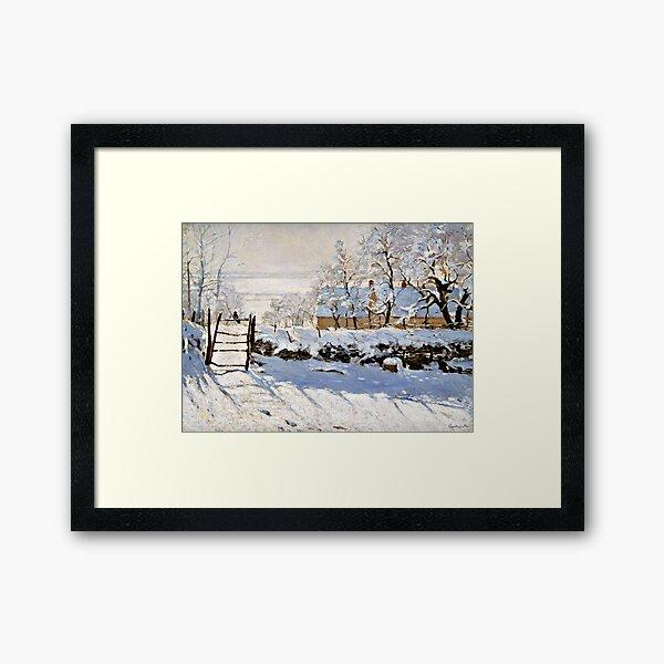 Monet - The Magpie, fine art painting Framed Art Print
