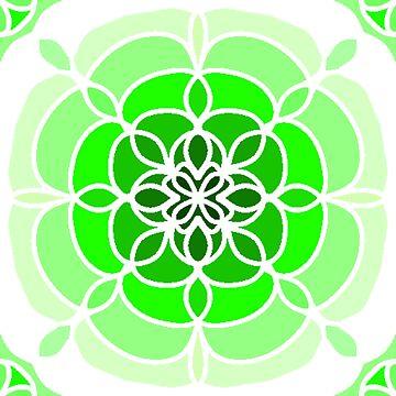 Green Flower Tile by Dees-Designs
