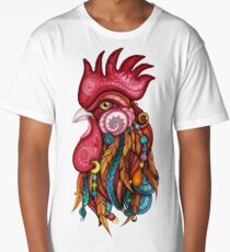 Tribal Rooster Design Long T-Shirt