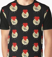 Romantic red heart and zebra on full moon Graphic T-Shirt