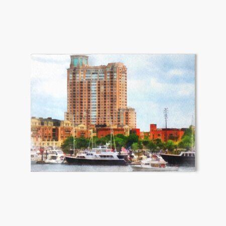 Baltimore MD - Boats at Inner Harbor  Art Board Print