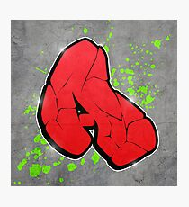 A - Red graffiti letter Photographic Print