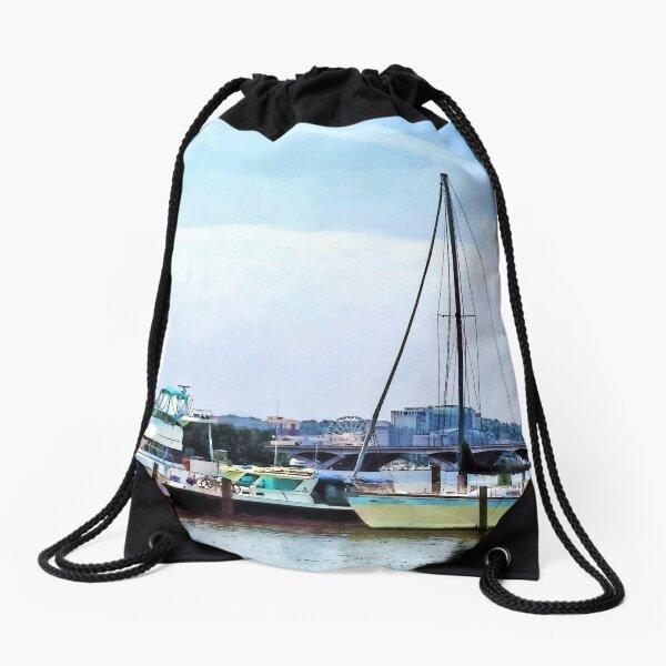 Alexandria VA - Boats on the Potomac Near Founders Park Drawstring Bag