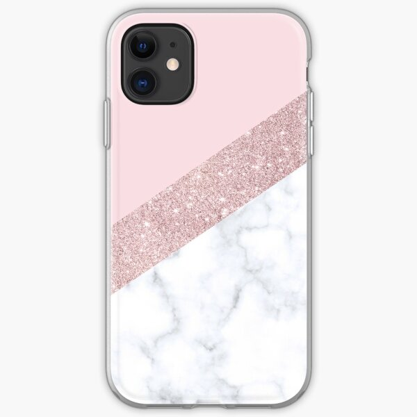 Stylish white marble rose gold glitter pink iPhone Soft Case