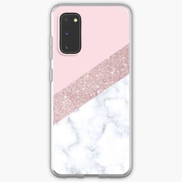 Stylish white marble rose gold glitter pink Samsung Galaxy Soft Case