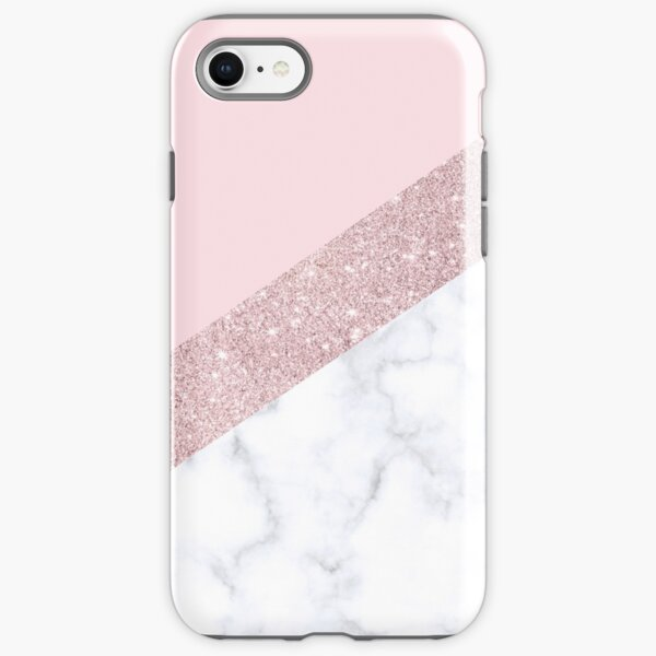 Stylish white marble rose gold glitter pink iPhone Tough Case