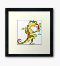 Cute  Lizard on a Cocktail Party Framed Print