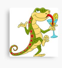 Cute  Lizard on a Cocktail Party Canvas Print