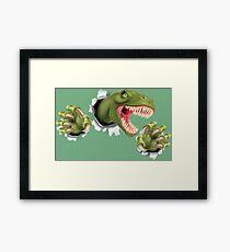 T Rex Dinosaur Claws Tearing Framed Print