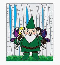 Fairies Kissing Gnome Photographic Print