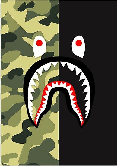 quotbape shark pattern merchandisequot photographic prints by