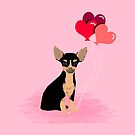 Chihuahua valentines day black and tan dog breed must have chiwawa gifts heart balloons by PetFriendly