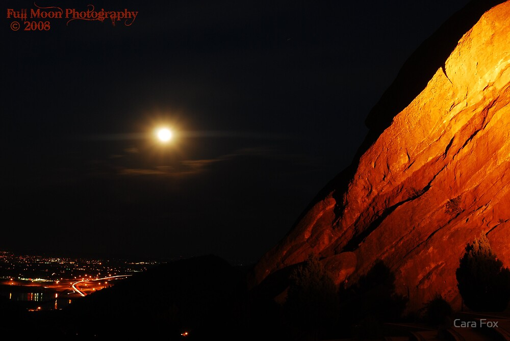 Full Moon Over Red Rocks by Cara Fox