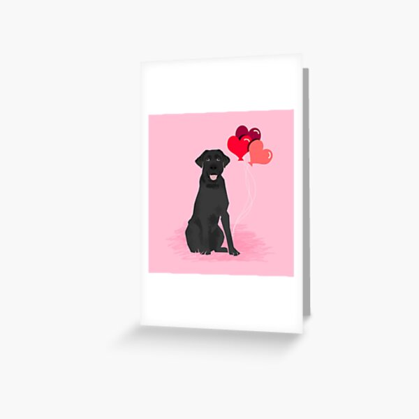 Black Labrador Retriever dog breed valentines day heart love balloons gifts black labs Greeting Card