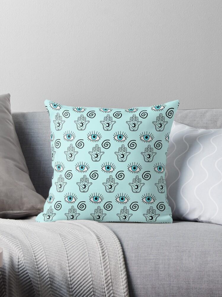 Evil Eye Esoteric Symbols Hamsa Hand Print Throw Pillows By
