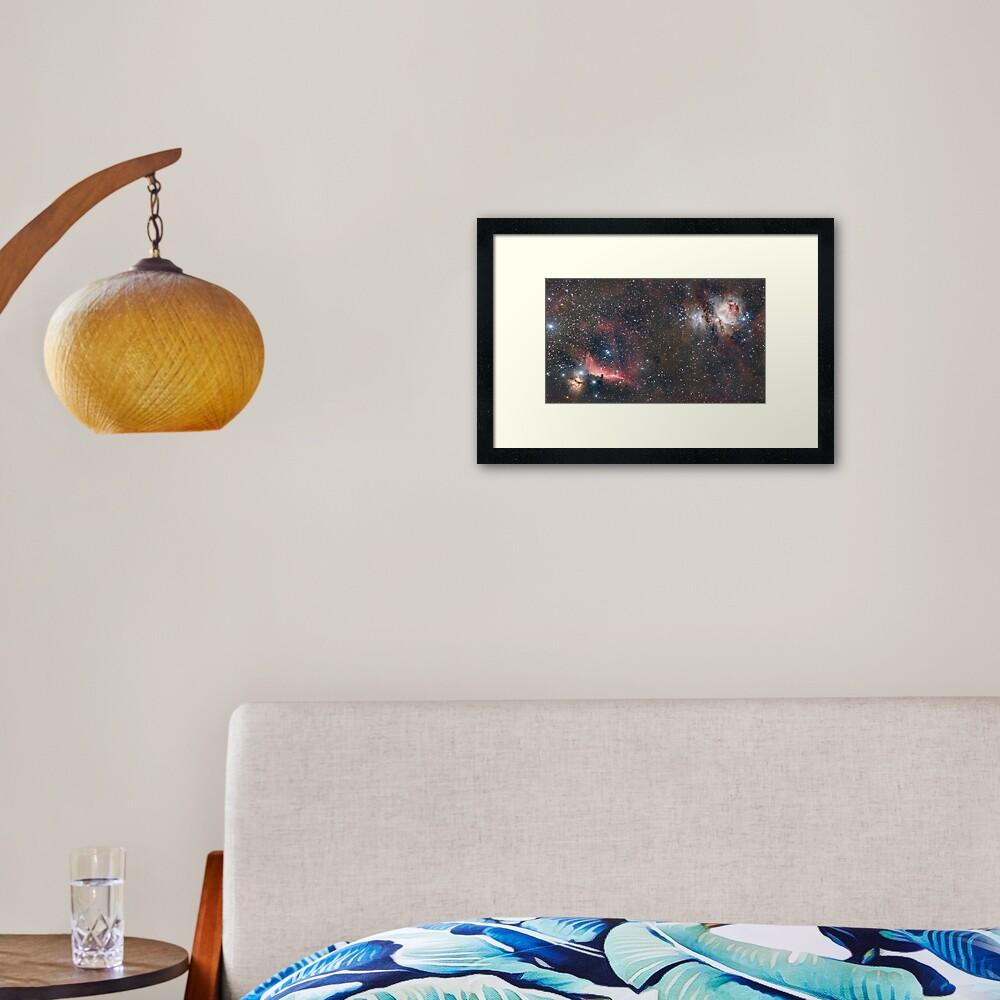 Orion + Flame + Horsehead nebulae Framed Art Print
