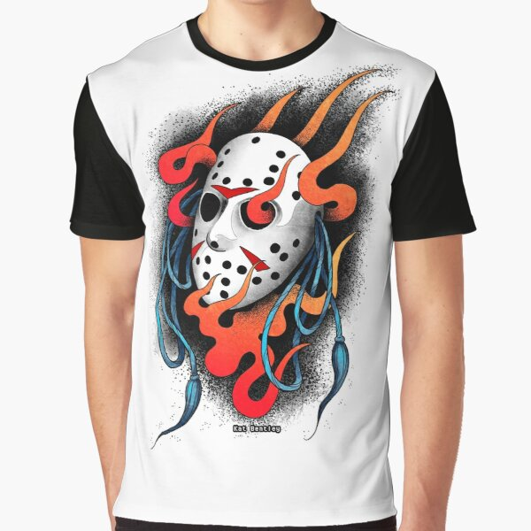 Hockey Mask and Flames Graphic T-Shirt
