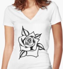 Dotted rose Women's Fitted V-Neck T-Shirt