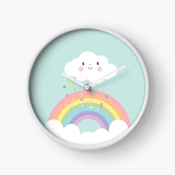 Rainbow Happy Little Cloud Pastel Rain and Sunshine Baby Nursery Art Print Canvas Design Clock