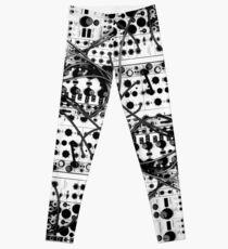 analog synthesizer modular system - black and white illustration Leggings