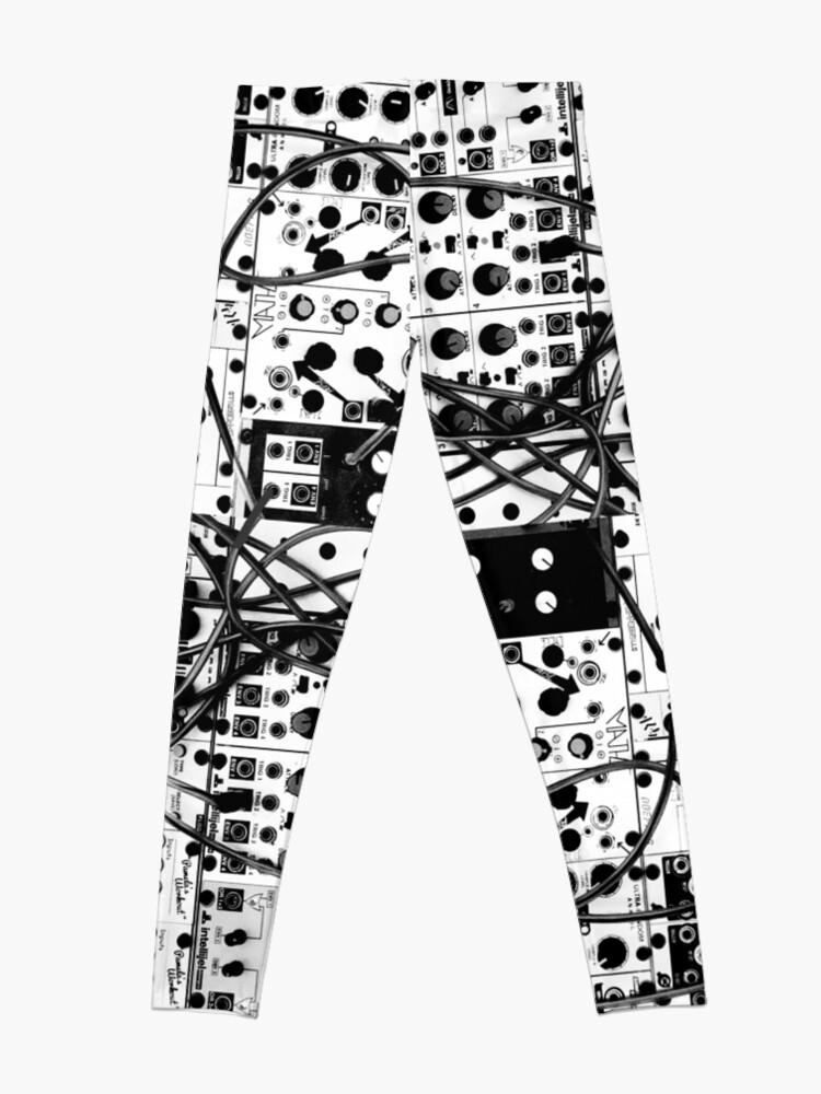 Alternative Ansicht von modulares System des analogen Synthesizers - Schwarzweißabbildung Leggings
