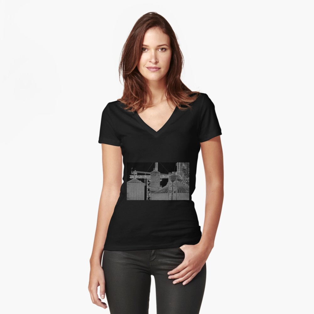 Industrial Shapes Women's Fitted V-Neck T-Shirt Front