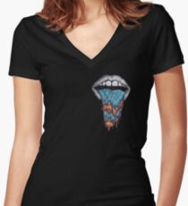 Hazy Mouth Collection Women's Fitted V-Neck T-Shirt
