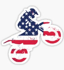 Dirtbike Flag gift for America Lovers Sticker