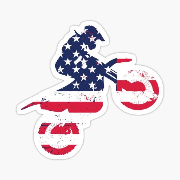 Dirtbike Flag gift for America Lovers Sticker