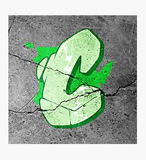 C - Green Graffiti letter Photographic Print