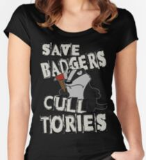SAVE BADGERS CULL TORIES Women's Fitted Scoop T-Shirt