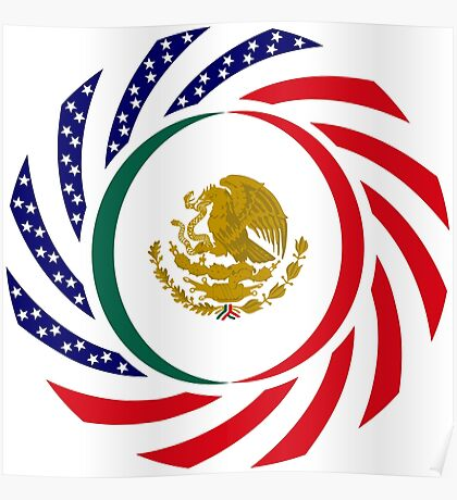 Mexican American Multinational Patriot Flag Series Poster