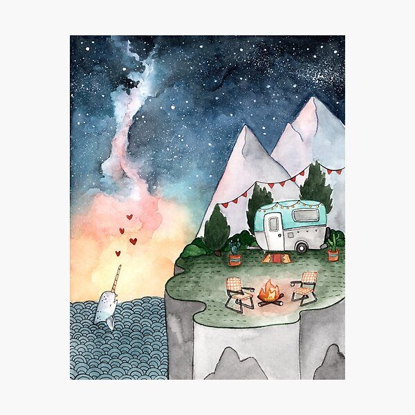 Camper Night Sky Photographic Print