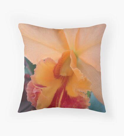 Peachy Perfection - Beautiful Cattleya Throw Pillow