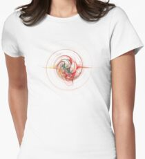 Crazy Color Swirl Star Fractal on White Women's Fitted T-Shirt