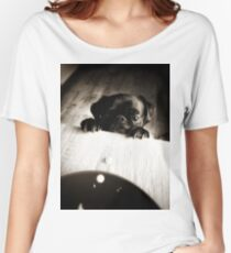 pug black puppy peeking in black and white tones Women's Relaxed Fit T-Shirt