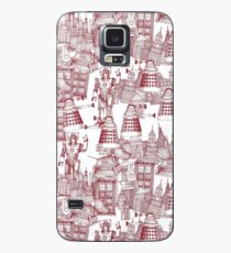 walking doodle toile de jouy red Case/Skin for Samsung Galaxy