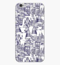 walking doodle toile de jouy blue iPhone Case