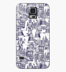 walking doodle toile de jouy blue Case/Skin for Samsung Galaxy