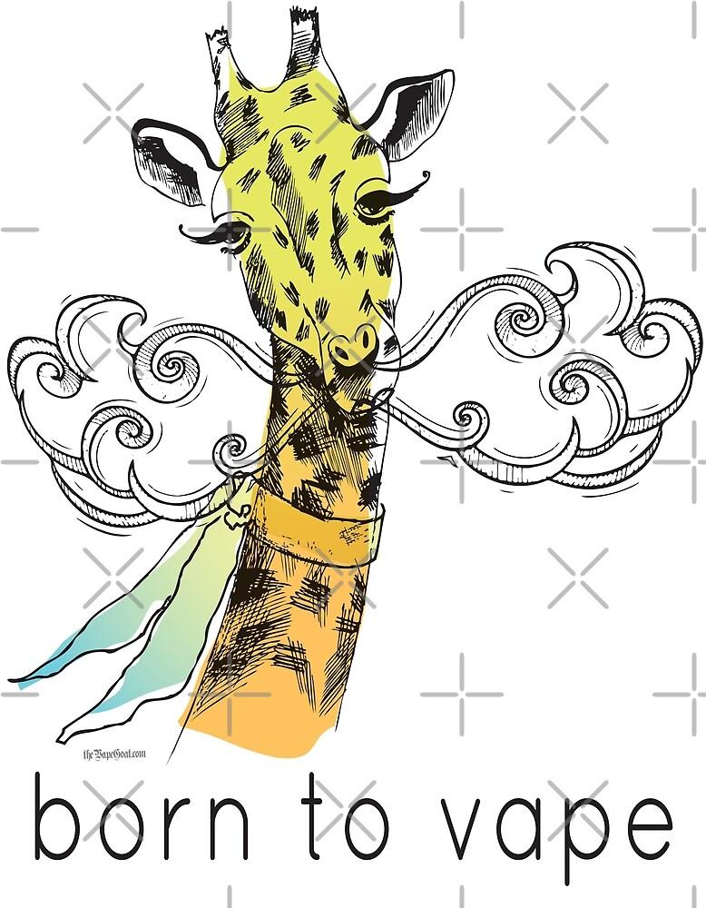 Vaping | Born to Vape - Vaping Giraffe Watercolor by IconicTee