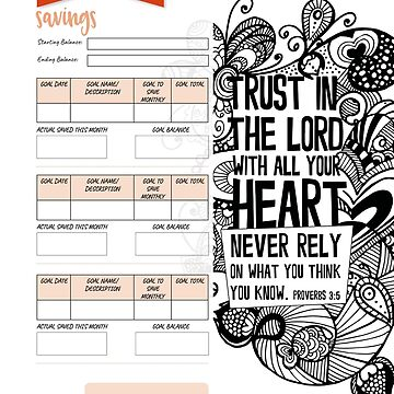 Monthly Saving Goals - Trust in the Lord by Tangldltd