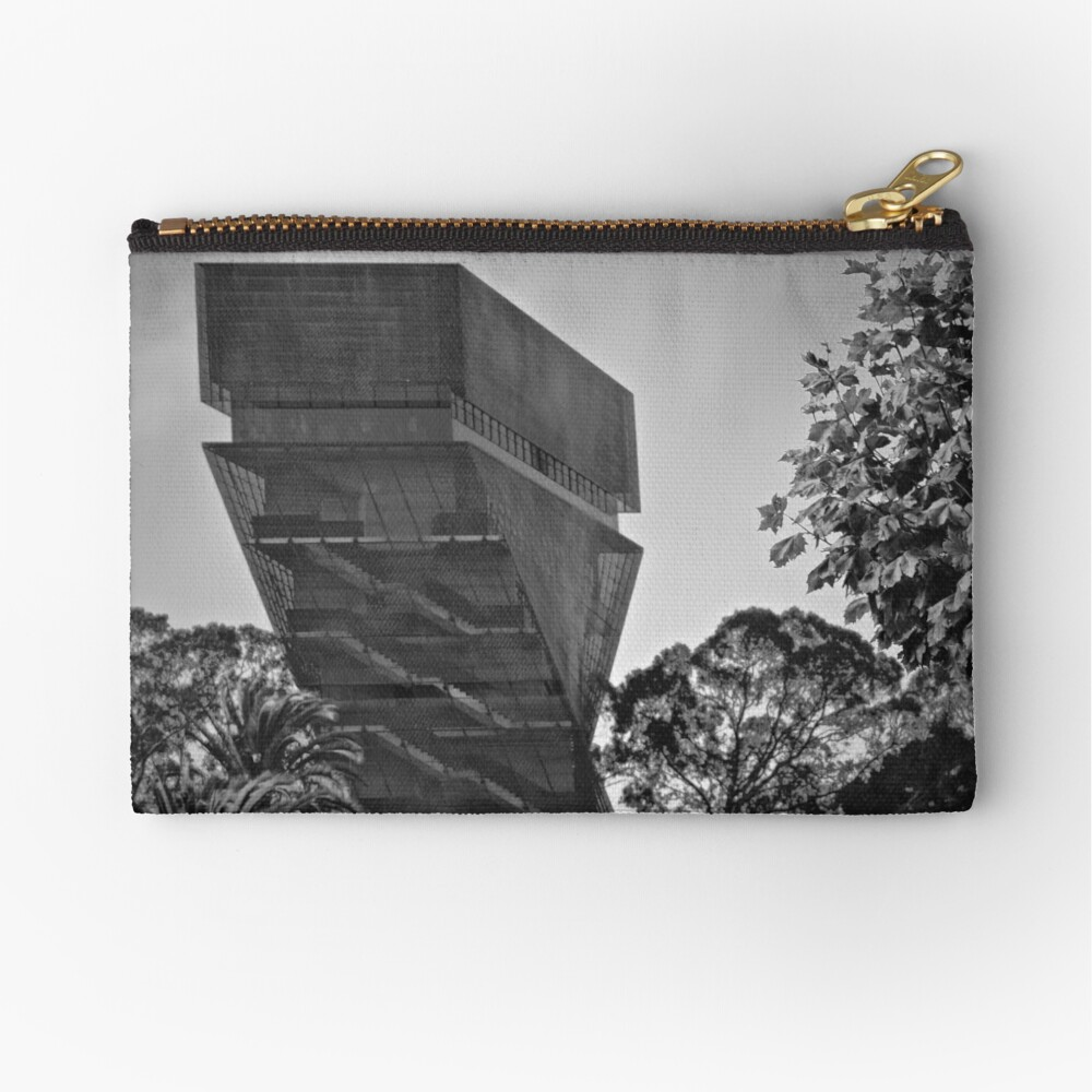 De Young Museum in Black and White Zipper Pouch
