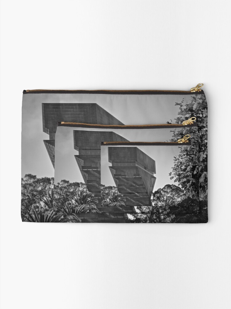 Alternate view of De Young Museum in Black and White Zipper Pouch