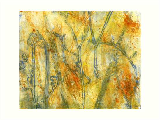 The Dangers of Fire Native Grasslands  Monoprint 1 by Heatherian