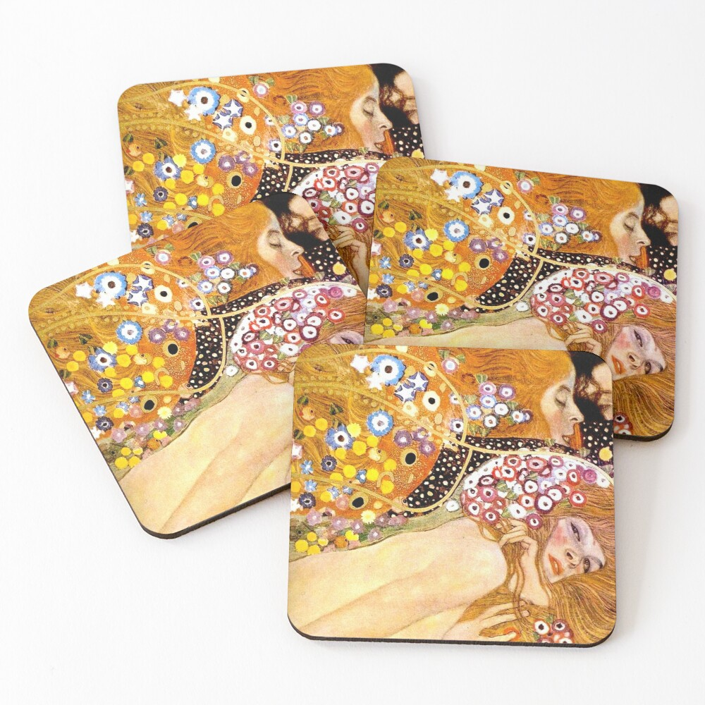 MERMAIDS : Vintage 1899 Klimt Painting Print Coasters (Set of 4)