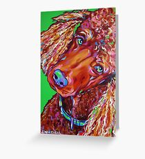 Colorful Fun Brown Poodle- J. Whitsell Art Greeting Card