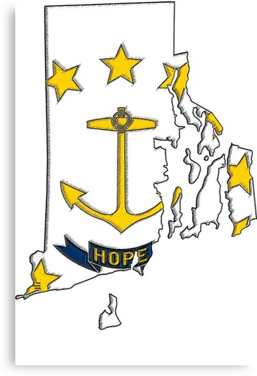 Rhode Island Map With Rhode Island State Flag by Havocgirl