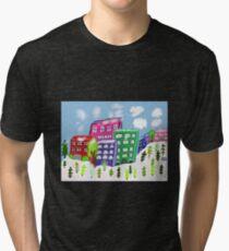 Snowy city scene Tri-blend T-Shirt