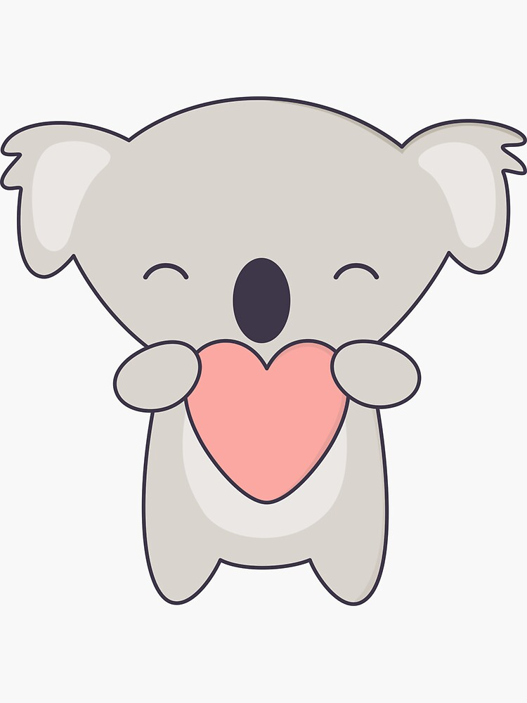 Kawaii lindo oso koala con corazón de wordsberry
