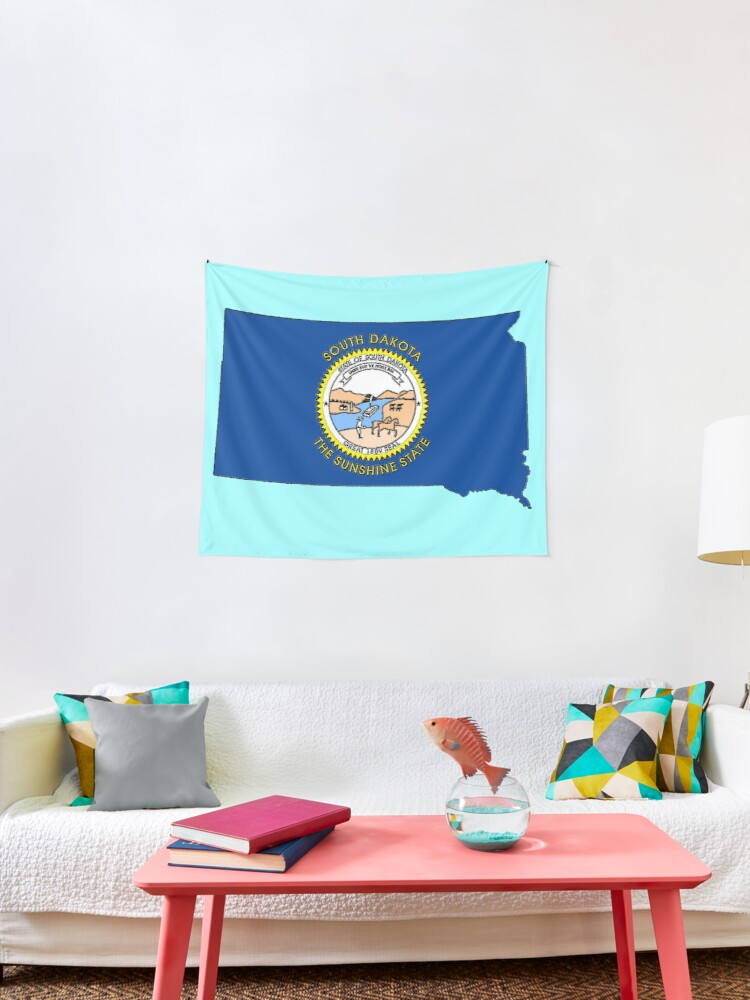 South Dakota Map With State Flag Tapestry By Havocgirl Redbubble